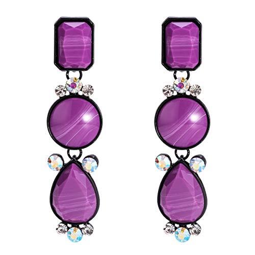 Pendientes colgantes Pendientes exagerados de Europa y América Pendientes de diamantes de múltiples capas de resina Joyería de moda simple con pendientes de estilo INS for mujeres ( Color : Purple )