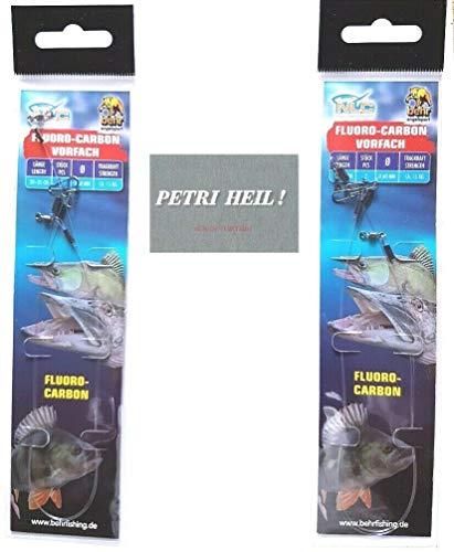 .Behr Set: 4 Stück Fluoro-Carbon Vorfach mit Wirbel & Karabiner 30+ 35cm,15kg, gratis Petri Heil! Aufkleber