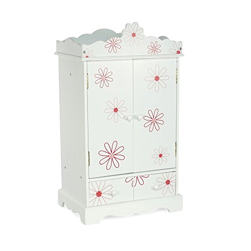 Emily Rose 18 Inch Doll Closet for My Life Doll Clothes - Floral | Doll and Small Pet Clothes Storage | Doll 18' Clothes Wardrobe | Doll Armoire 18 | Fits 18' American Girl and My Life Doll Clothes