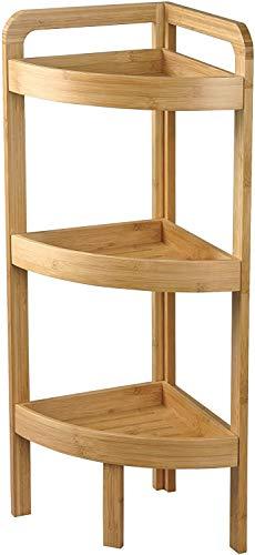 CUCO\'S NEST Estantería baño, Rinconera 3 alturas de Bambú, 61x29x29 cm