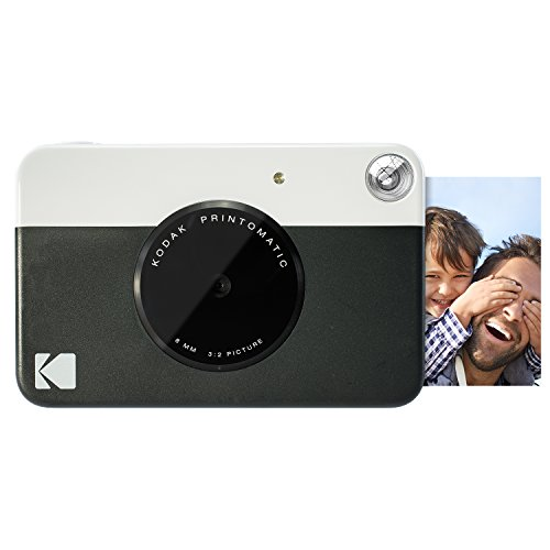 Kodak PRINTOMATIC Digital Instant Print Camera (Black), Full Color Prints On ZINK 2x3 Sticky-Backed Photo Paper - Print Memories Instantly