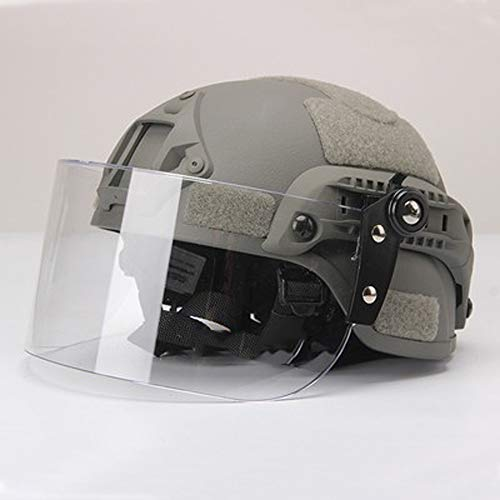 WANJIA Casco para Exteriores, Airsoft Tactical Military Paintball Army Combat Helmet con Clear Riot Visor Shield Gafas deslizantes para CS War Game Hunting Shooting,B