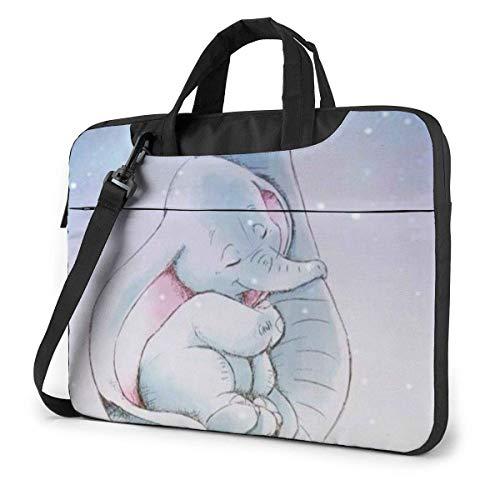 XCNGG Lindo maletín de Negocios para computadora portátil Dumbo para Hombres y Mujeres, Bandolera de Hombro, Estuche para computadora portátil, Bolsa de Transporte, 14 Pulgadas
