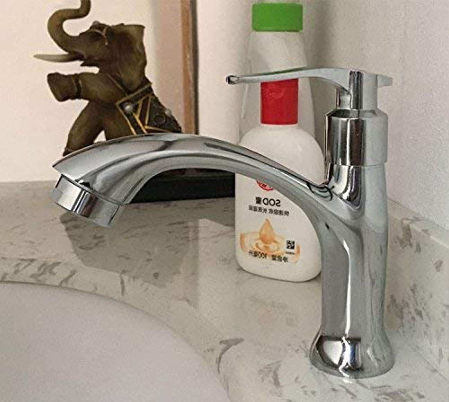 Oudan Basin Mixer Tap Bathroom Sink Faucet Faucet single cold basin mixer basin full copper wash basin sink bathroom vanity sinks faucets, single cold tap + 1 m water inlet pipe (color   1)