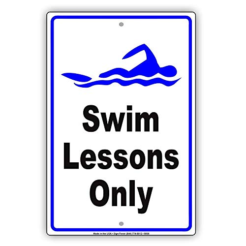 Moonluna Swim Lesson Only Class Panneau en métal pour la Piscine, la Piscine, l'Apprentissage de la Maison, Bar, Garage, Cour, Bureau