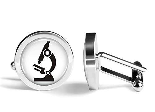 Microscope Cufflinks Scientist Cuff Links (Angled Edition)