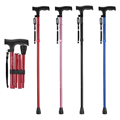 BigAlex Folding Cane,Adjustable Collapsible Cane,Foldable Walking Cane for Men,Women,Lightweight,Adjustable,Portable Hand Walking Stick - Balancing Mobility Aid - Sleek, Comfortable T Handles(Red) by Z.L.Seals