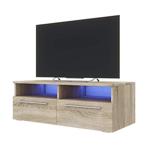 Selsey Siena - TV Lowboard / TV-Schrank Sonoma Eiche Matt, mit Blauer LED - Beleuchtung, 100 cm