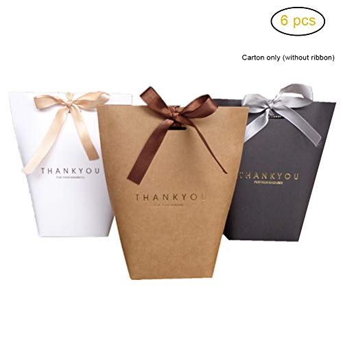 6 Stück kleine Kraftpapiertüte Geschenktüten für Schmuckband Kraft Pralinen Candy Box Hochzeitsfeier begünstigt Verpackung