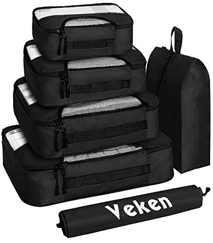 Veken Juego de 6 cubos de embalaje, organizadores de equipaje de viaje con bolsa para zapatos de lavandería, Cubos de embalaje, Negro,...