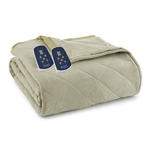 Thermee Micro Flannel Electric Blanket, Sage, King