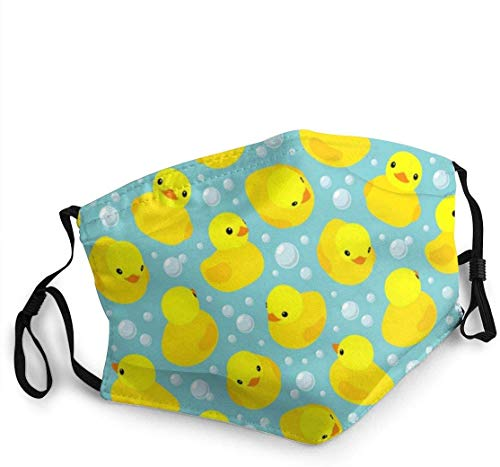 Face Mask Reusable Kids Yellow Rubber Duck Washable Men Women Cloth Dust Face Cover Shield Outdoor Sports Black
