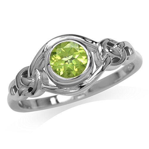 Silvershake Natural Peridot White Gold Plated 925 Sterling Silver Celtic Knot Ring Size 5