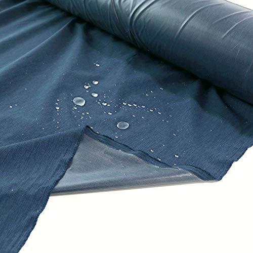 TOLKO Outdoor-Stoff Wasserdicht | Leichter NylonStoff als Meterware | für Regenjacke Plane Regenschutz 150cm breit (Blau Meliert)