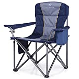 ALPHA CAMP Oversized Camping Folding Chair Heavy Duty Lawn Chair with Cooler Bag Support 450 LBS Steel Frame Collapsible Padded Arm Chair Quad Lumbar Back Chair Portable for Outdoor,Blue