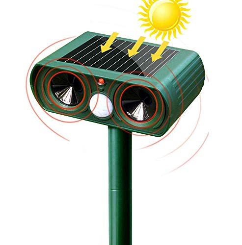 Ultrasonic Animal Repeller Cat Solar Powered with Motion Sensor Repeller Waterproof Outdoor Farm Yard Garden Get Rid of Dogs, Cats, Foxes, Skunk, Rod, Squarrels (Green)