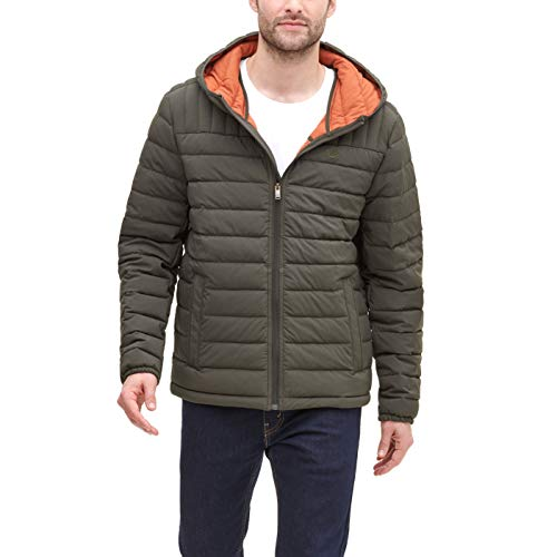 Dockers Men's The Liam Smart 360 Flex Stretch Quilted Hooded Puffer Jacket, Olive, Medium