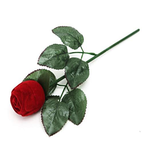 Time Roaming - Caja para pendientes o anillo con forma de rosa roja
