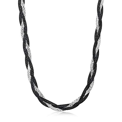 Amberta Women's 925 Sterling Silver Braided Herringbone Chain Necklace (Length 18 inch): Silver Plated Black