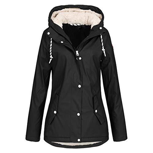 YUPENG Coat Women Casual Fashion Zipper Waterproof Transitional Jacket Autumn and Winter New Lining Plush Keep Warm Parka Coat Hooded Outdoor Jacket for Hiking Camping Parka Coat 3XL