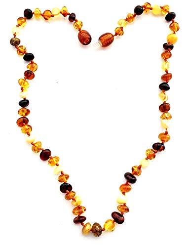 Collana in ambra naturale (unisex) (multicolore) – lunga 34 cm – fatta a mano, con autentica ambra e Senza metallo, colore: Multicolore, cod. UK-01