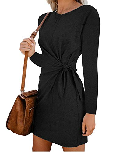 Turnglam Pullover Kleid Damen Oberteil Lang Sweatshirt Oversized Einfarbig Casual Lose Herbst Kleid Pullikleid Strickpullover Sweatkleid Tops  (EU(34-36)/Herstellergröße: S, Schwarz)