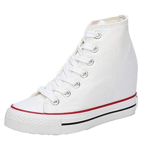 Zapatillas Altas De Lona para Mujer Plataformas con Cuñas Aumentado En El Interior Alpargatas Zapatos Zapatillas De Deporte Confort Casual Pisos para Damas