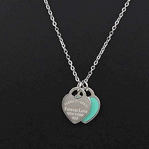 Collar para Mujeres Hombres Collar Amor Doble Corazón Esmalte Ladie Forever Love...