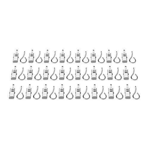 Unbekannt IKEA Riktig - Anillas para Cortinas (con Clips, 24 Unidades, Acero Inoxidable)
