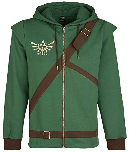 The Legend of Zelda Cosplay Zip-Hoodie Kapuzenjacke grün/braun 3XL