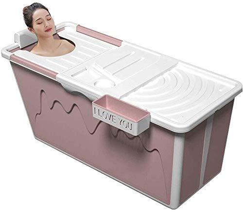 YDD Falten Erwachsene Badewanne Ganzkörper Haushalt Badefass Tragbar Verdickter Kunststoff Wanne rutschfest Bade-Eimer Mit Deckel Badezimmer-105cm Pink