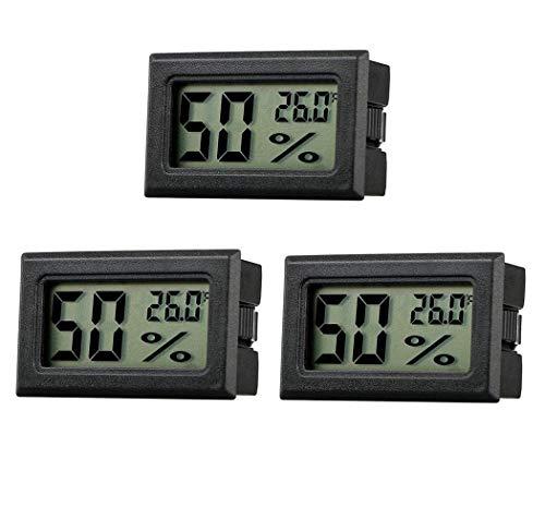 Mini LCD Digital Thermometer Temperatur Hygrometer Luftfeuchtigkeit Tester Hygrometer für Kühlschrank Aquarium -50°C~+70°C (3 PCS)