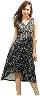 Women Casual Sexy Lace V-Neck Sleeveless Dress High Quality (Color : Black, Size : L)