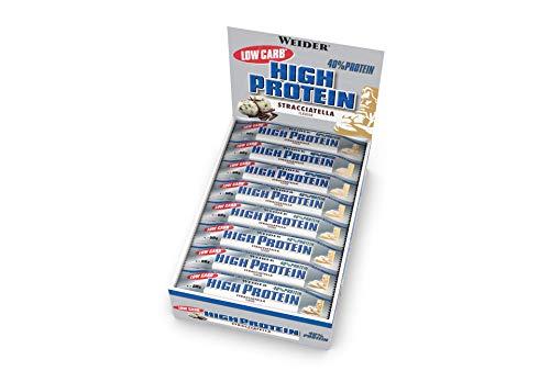 Weider Low Carb High Protein Eiweißriegel, Stracciatella, 24 Stück pro Box, Fitness & Bodybuilding