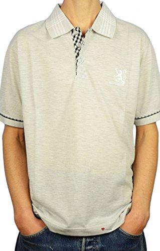 I Luv Ltd Mens Scotland Lion Tartan Collar Polo Shirt Grey Marl 2X-Large