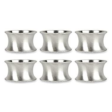 DII Modern Chic Napkin Rings for Dinner Parties, Weddings Receptions, Family Gatherings, or Everyday Use, Set Your Table With Style - Silver Beaded, Set of 6