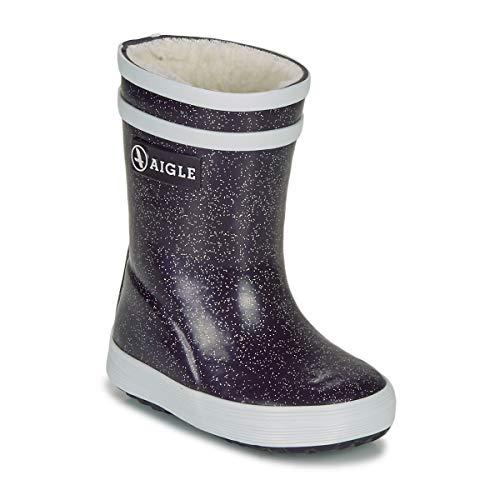 Aigle Baby FLAC Print Bont Laarzen Vult Zwart/Glitter Wellington Laarzen