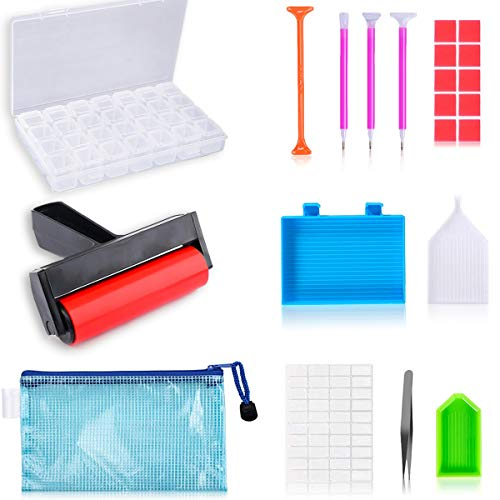 22 Pieces 5D Diamonds Painting Tools and Accessories Kits with Diamond Painting Roller and Diamond Embroidery Box for Adults or Kids