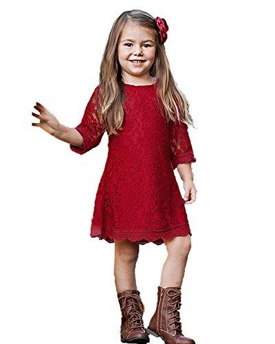 Flower Girl Dress, Lace Dress 3/4 Sleeve Dress (6-7Year, Red)