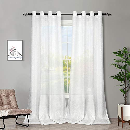 Melodieux White Semi Sheer Curtains 84 Inches Long for Living Room - Linen Look Bedroom Grommet Top Voile Drapes, 52 by 84 Inch (2 Panels)