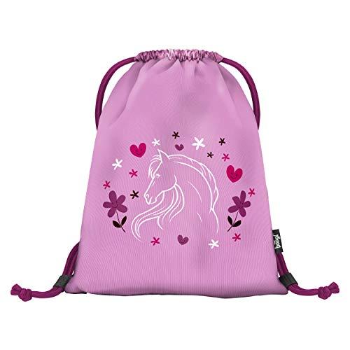Baagl Turnbeutel für Mädchen - Wasserdichte Schuhbeutel für Kinder - Schule und Kindergarten Sportbeutel - Sportrucksack (Horses)