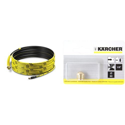 Kärcher 2.637-767.0 PC 15 - Juego de Limpieza de tuberías de 15m para modelos K2 - K7 [Importado de Alemania] + 5.763-016 - Boquilla de tuberías con 3 chorros (diámetro 16 cm)