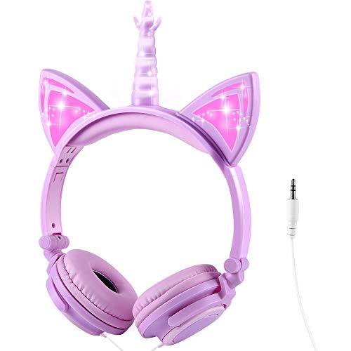 Cuffie Unicorno per Bambini, Sunvito Orecchio sopra con orecchie di gatto incandescente a LED, 85dB Volume Cablate Kids Unicorno cuffie regolabili per bambina ragazze (Viola)