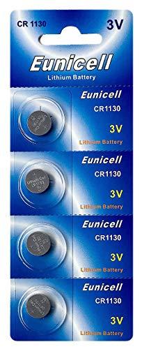 Eunicell 4 x CR1130 3V Lithium Knopfzelle 48 mAh (1 Blistercard a 4 Batterien) EINWEG