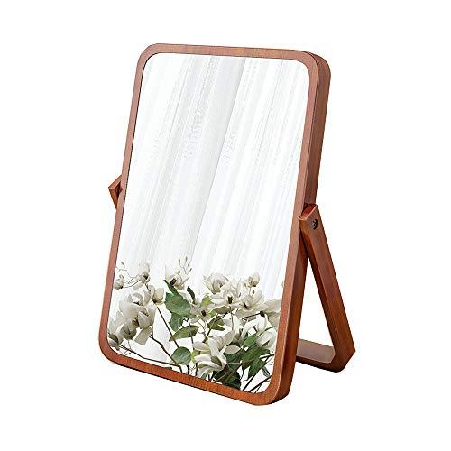 Hosoncovy Holzrahmen Ständer Make-up Spiegel Kosmetikspiegel Tischspiegel mit Holzrahmen und Standspiegel zum Aufhängen (Braun)