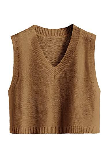 Romwe Women's Knitted Cotton V-Neck Vest JK Uniform Pullover Sleeveless Crop Sweater School Cardigan Brown L