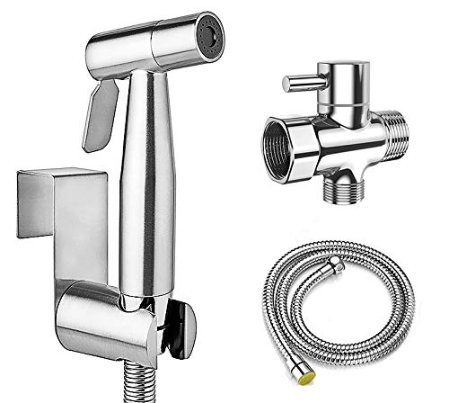 Handheld Bidet Sprayer for Toilet, Stainless Steel Bidet Sprayer Attachment with Hose for Toilet, Baby Cloth Diaper Sprayer, Easy to Install and Control Water