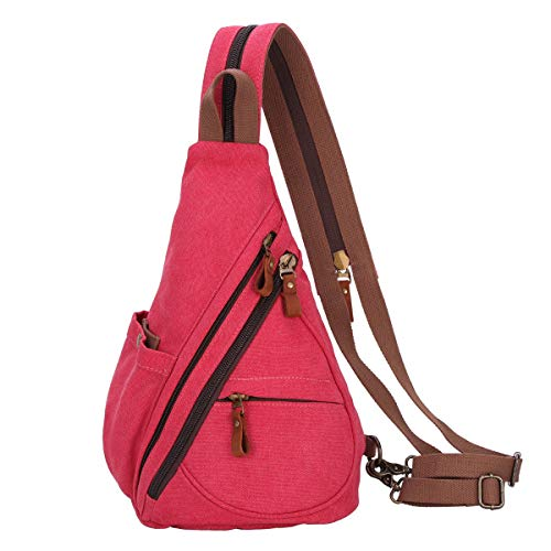 Canvas Sling Bag - Small Crossbody Backpack Shoulder Casual Daypack Rucksack for Men Women Outdoor Cycling Hiking Travel (6881-Red)