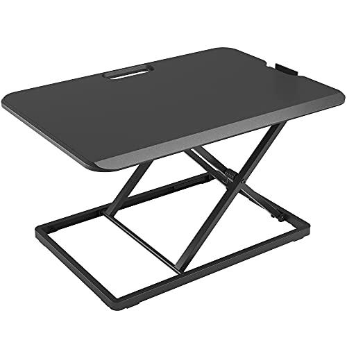 BONTEC Steh-Sitz Schreibtisch Steharbeitsplatz Stehpult Standtisch Ergonomische Höhenverstellbar für PC-Computerbildschirm, Laptop   65x47cm Plattform, 8 kg Kapazität