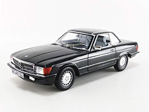 Norev Mercedes 300 SL Cabrio R107 1986 Blauschwarz metallic Modellauto 1:18